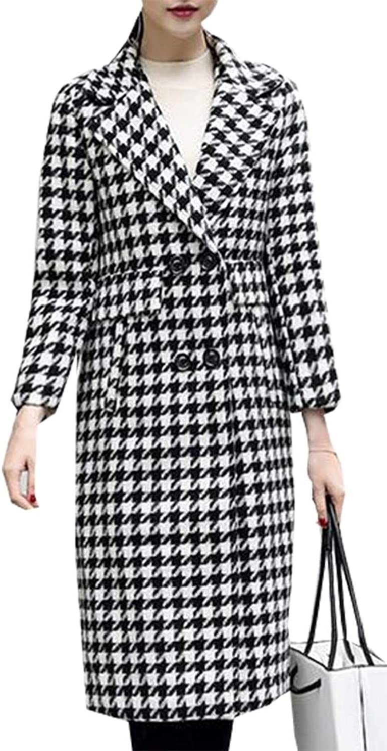 Esast Women 2 Button Houndstooth Mid Length Wool Blend Trench Pea Coat Overcoat