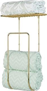 mDesign Modern Decorative Metal Wall Mount Towel Rack Holder and Organizer for Storage of Bathroom Towels, Washcloths, Han...