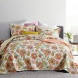 Bel Citrine Hannah Floral Cotton Lightweight Reversible Tagesdecke/Bettdecke/Bettbezug-Set mit 2 Kissenbezügen/Kissenbezügen (Full/Queen, Hannah Floral)