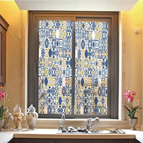 Yellow and Blue 3D No Glue Static Decorative Privacy Window Films, Mosaic Portuguese Azulejo Mediterranean Arabesque Effect Decorative,17.7'x59',for Home & Office Decor,Violet Blue Mustard White