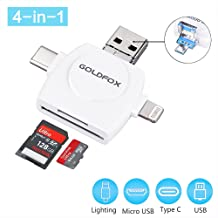 GoldFox SD Card Reader, Micro SD TF USB C Card Reader for iPhone iPad Android Mac PC, 4 in 1 Memory Card Reader Adapter Viewer for Trail Game Camera with Micro USB Type C and Standard USB Connector