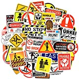 Waterproof Vinyl Stickers for Laptop Water Bottle Car Decals (100Pcs Warning Sign Style)