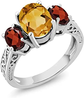 Gem Stone King 925 Sterling Silver Oval Yellow Citrine & Red Garnet 3-Stone Ring (2.25 Cttw, Gemstone Birthstone, Available in size 5, 6, 7, 8, 9)