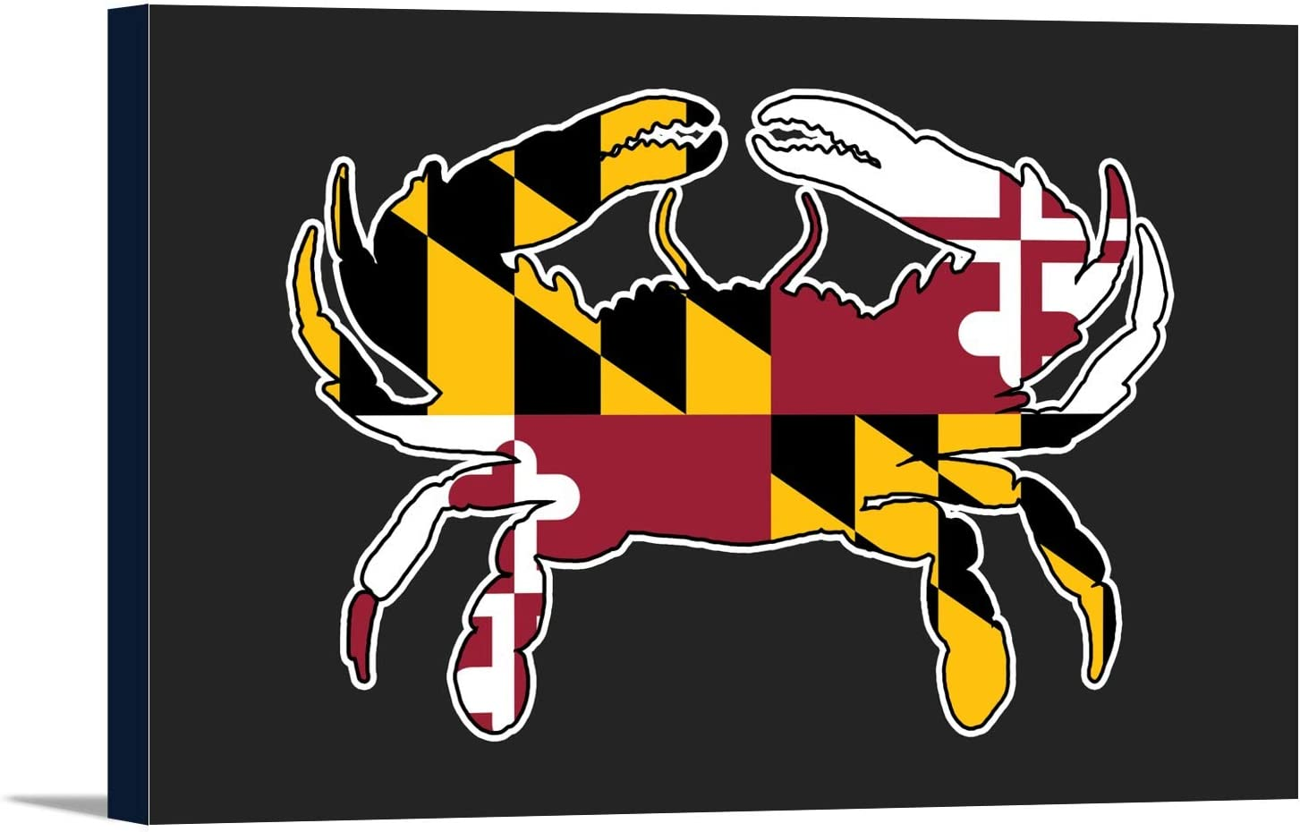 Maryland Crab Shaped Flag Max 46% At the price OFF 18x12 Canv Wrapped Stretched Gallery