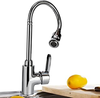 360 Rotatable Hot and Cold Water Kitchen Sink Faucet Mixer Sink Faucet Single Handle Bar Tap with Flexible Neck