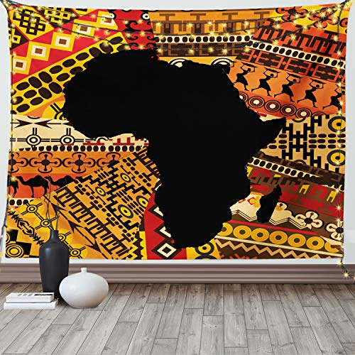 Ambesonne African Tapestry, Abstract Style Map on Carpet Background Illustration, Wide Wall Hanging for Bedroom Living Room Dorm, 60' X 40', Orange Black