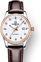 Women's Rose Gold-Tone Swarovski Crystal-Accented Automatic Watch with Calfskin Leather Calendar Luminous 30M Waterproof