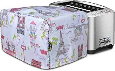 Toaster Cover,Toaster Oven Dust Cover,Four Slice Bread Toaster Cover,Cover for air fryer with Pocket Compatible(Lonely Paris,
