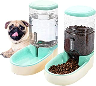 Happycat Pets Gravity Food and Water Dispenser Set,Small & Big Dogs and Cats Automatic Food and Water Feeder Set,Double Bowl Design for Small and Big Pets