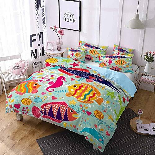Smile Kleine Fische Bettbezug Bettwäsche, Underwater World Kindereinzelbett Extra großes...