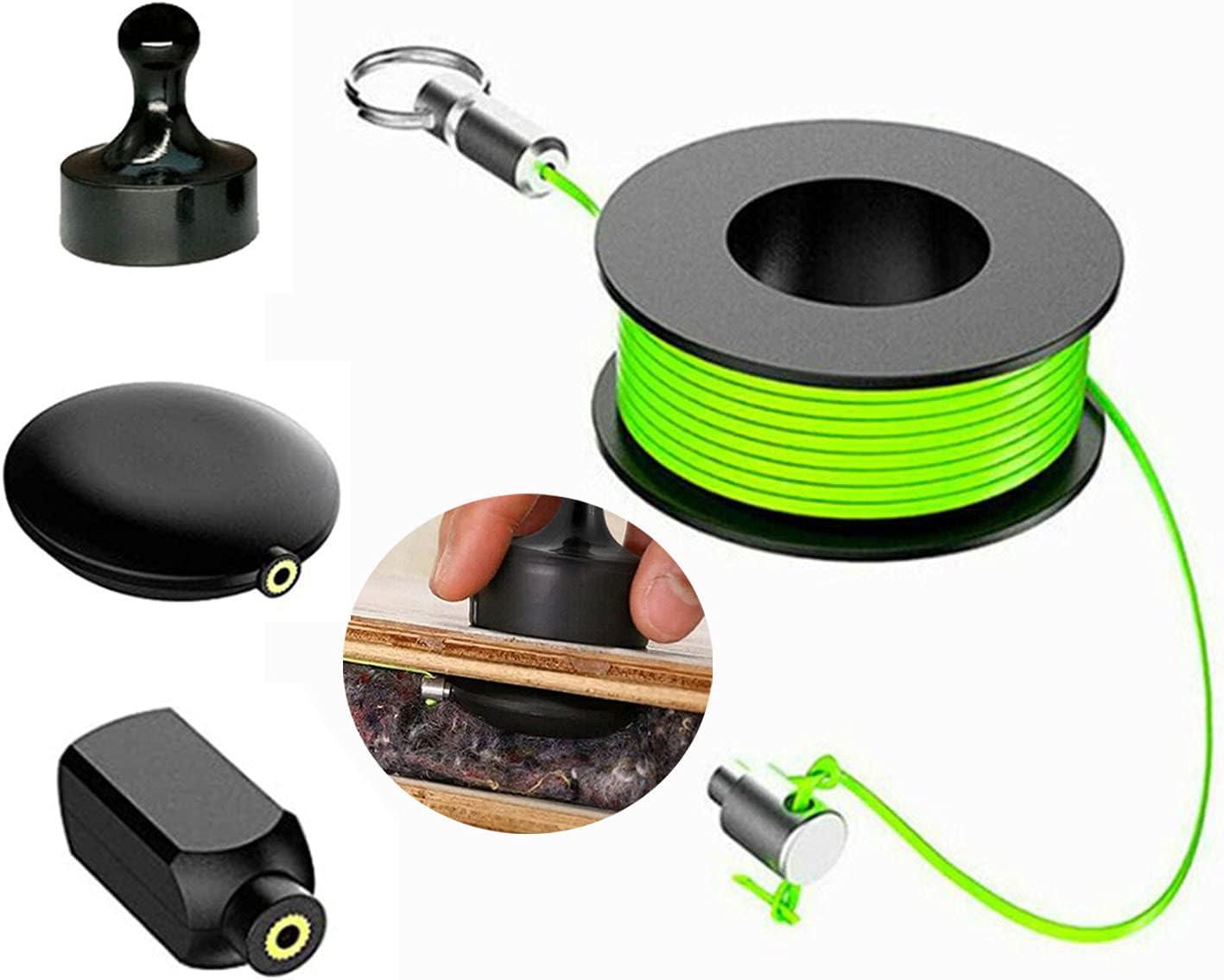 Tirador de alambre magnético, Macllar Juego de extractores de cables magnéticos de 4 paquetes con cables magnéticos, cuerdas de nailon, herramientas de pesca con cable guía de alambre magnético