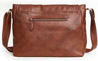 Vintage Minimalist Male Large Business Messenger Leather Bags for Men Genuine Leather (Color : Reddish Brown, Size : S)