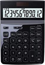 $45 » Basic Calculator Large Screen Calculator 12-bit Digital HD Display Protection Eye Solar Button Battery Double Insurance Fi...