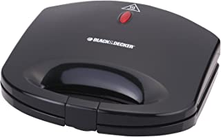 Black+Decker 600W 2 Slice Non-Stick Sandwich Maker, Black - TS1000-B5, 2 Years Warranty