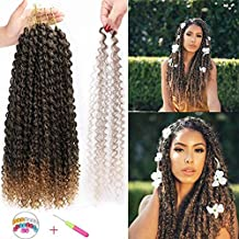 AISI BEAUTY 6 Packs Passion Twist Crochet Hair Water Wave Synthetic Twist Hair 18 Inch Long Ombre Bohemian Synthetic Crochet Braids Hair Passion Twist Hair Extensions(T1B/27)