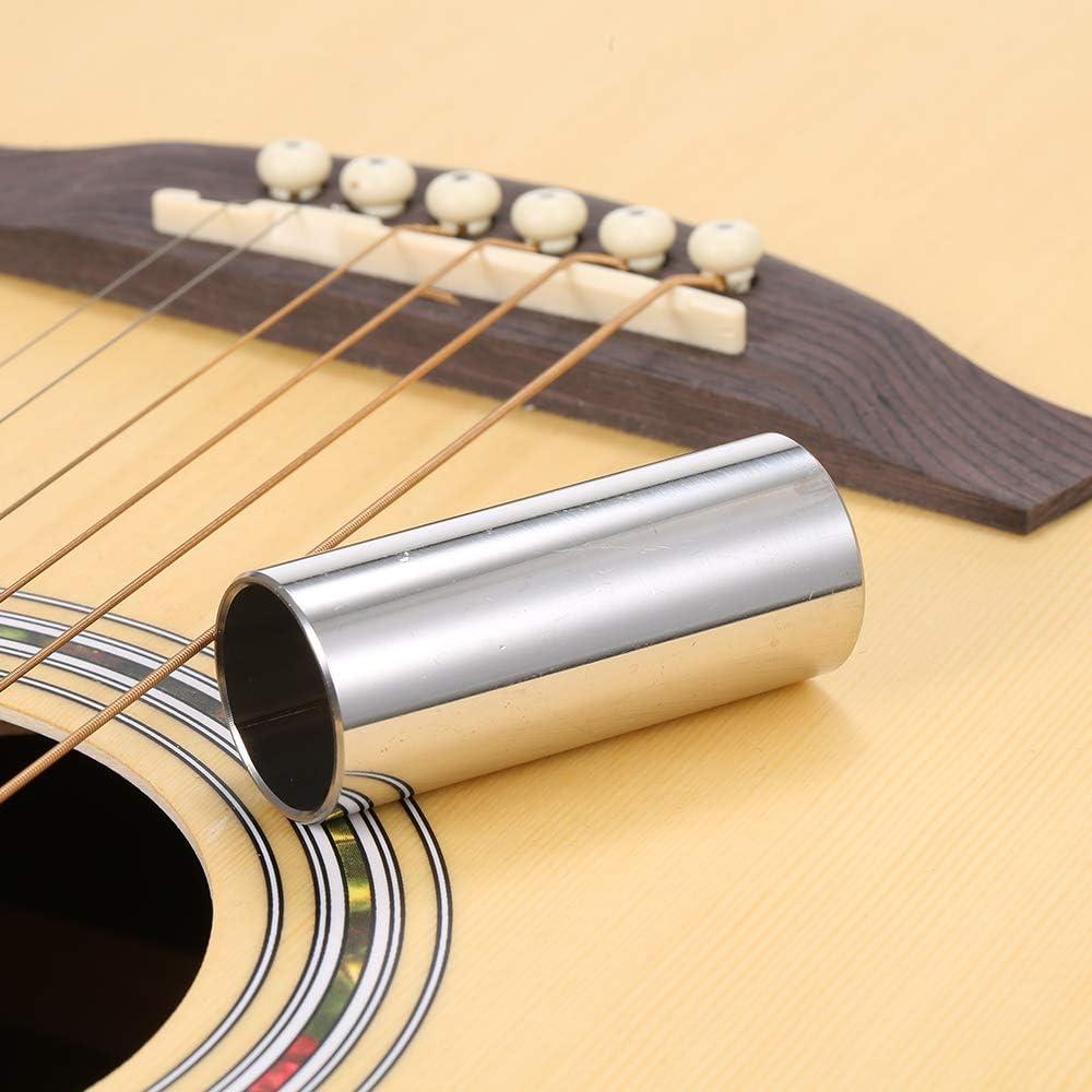 Funien 1PC 60MM High Guitar Slide Bar Stainless Steel Metal//Glass Finger Slides for Guitar Bass Banjo Ukulele String Instrument Accessories