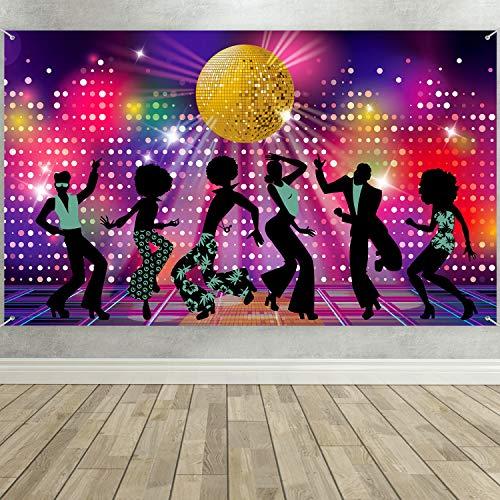 Suministros Decoración de Fiesta de Disco, Telón de Fondo de Bailarines Fiebre de Disco de 70 80 90 de Tela Grande para Fiesta Tema Disco, Fondo Fotografía de Cumpleaños Noche Neón de Vamos a Brillar