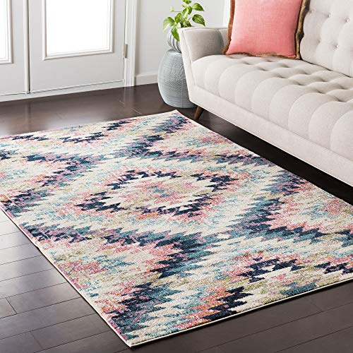 Tara Pink and Beige Bohemian/Global Area Rug 7'10' x 10'3
