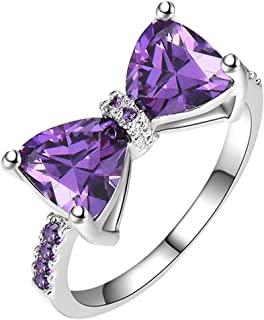SEniutarm Engagement Love Rings Wedding Bands Wedding Engagement Party Bowknot Faux Amethyst Inlaid Finger Ring Bridal Jew...