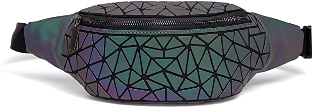 DIOMO Fanny Packs for Women and Men, Luminous Holographic Waist Pack Sport Chest Bag (Green NO.1)