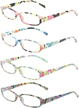 Reading Glasses 4 Fashion Women Eyeglasses With Floral Design Classic Spring Hinge Readers (2.25, 4 Pack Mix Color)