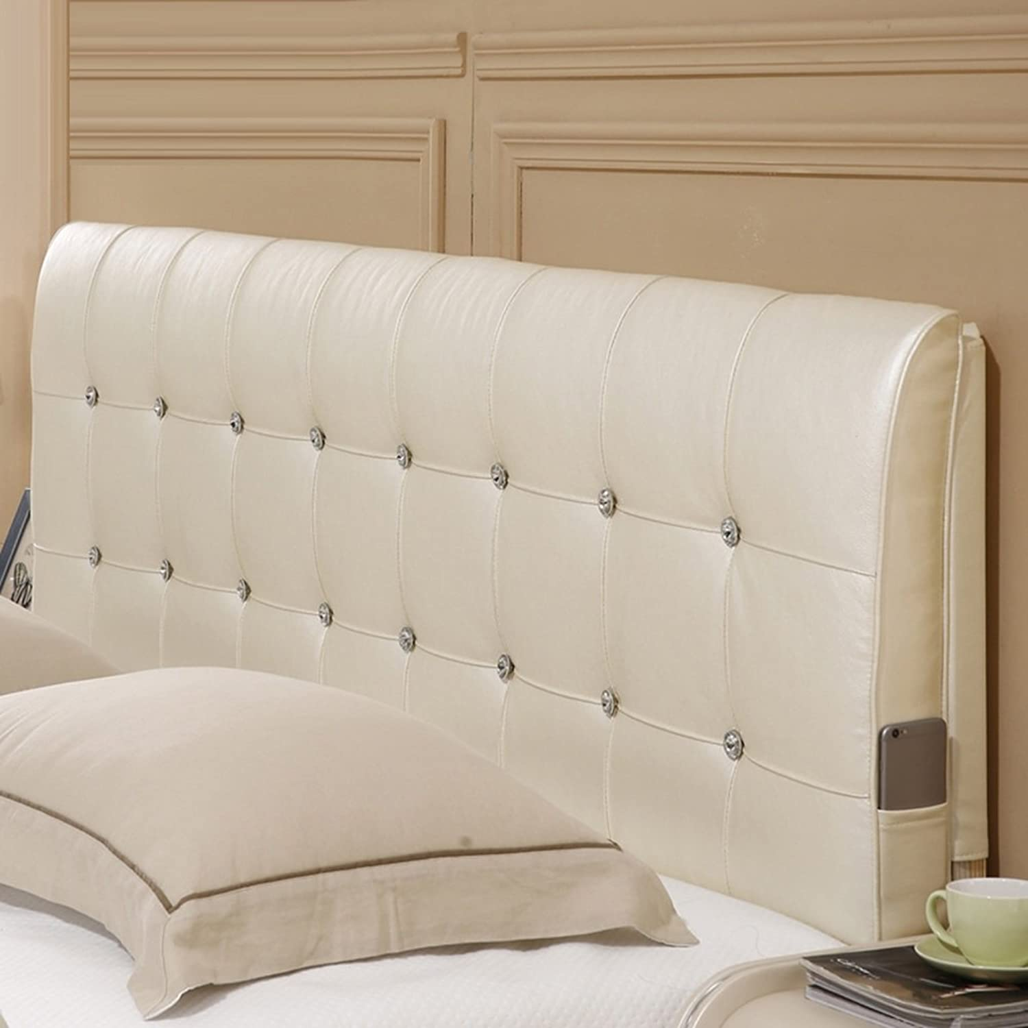 WENZHE Upholstered Fabric Headboard Bedside Cushion Pads Cover Bed Wedges Backrest Waist Pad Soft Case Double Bed Multifunction Big Back, There Is Headboard   No Headboard, 2 Styles, 6 Sizes ( color   2 -NO headboard , Size   120CM )