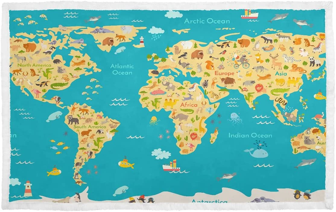 Blanket for mart Dog Animal Super-cheap Map Poster Kid Couc World