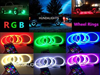 """4PC 12.5''-15.5"""" Shift Changing RGB Wheel Ring Rim Lights for Truck IP68 Waterproof Vehicle Kit Light up Tires for Offroad..."""