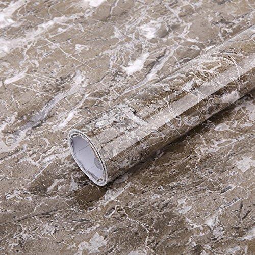 Glow4u Film adhésif brillant aspect marbre granit en vinyle pour comptoir de cuisine et salle de bain 60 cm x 3 m