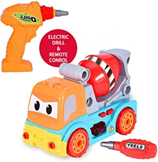 Buedvo DIY Disassembly Can Remote Control Police Car with Sound Disassembly Cartoon Car with Light Music Mixer Children Break Up Toy Racing Toy Construction Toy Set (B)