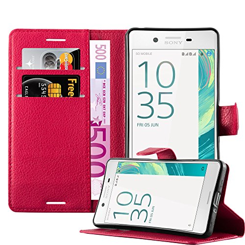 Cadorabo Hülle für Sony Xperia X - Hülle in Karmin ROT – Handyhülle mit Kartenfach & Standfunktion - Hülle Cover Schutzhülle Etui Tasche Book Klapp Style