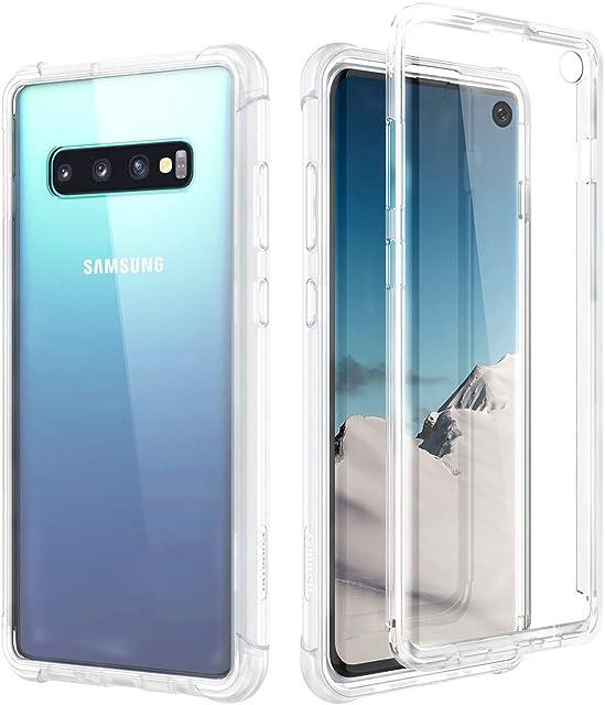 SURITCH Funda Samsung Galaxy S10 360 Grados Transparente y Protector Antigolpes [Ultra Hybrid] Transparent PC Dura Resistente + TPU Silicona Bumper Doble Cara Carcasa para Samsung Galaxy S10 - Claro