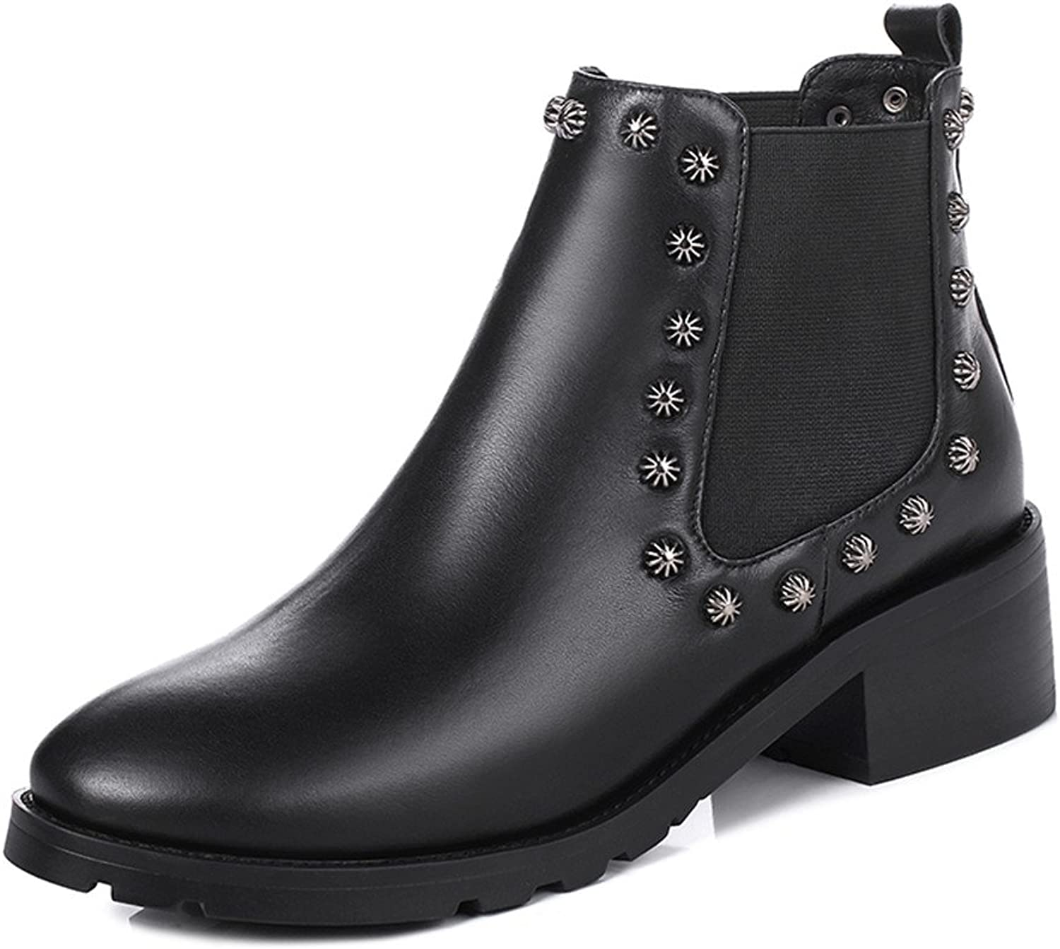 Nine Seven Genuine Leather Women's Round Toe Low Heel Slip On Handmade Cool Casual Ankle Boots