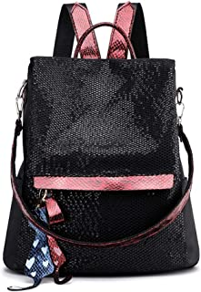 GYYlucky Sweet Lady Fashion Women's Backpack Sequin Bag Travel Backpack (Color : Red)