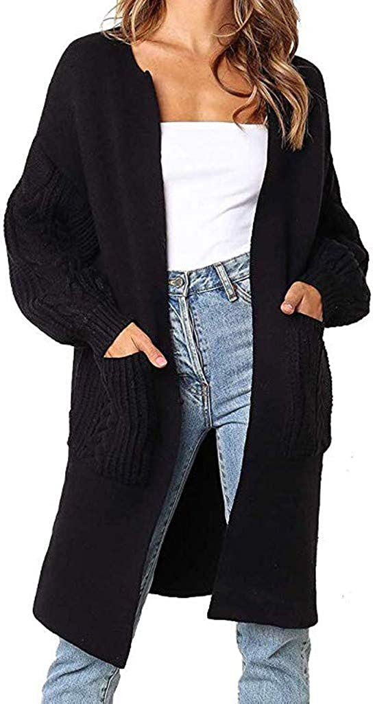 soyienma Sweaters for Women,Kimono Long Batwing Sleeve Open Front Chunky Cable Knit Cardigan Sweater with Pockets