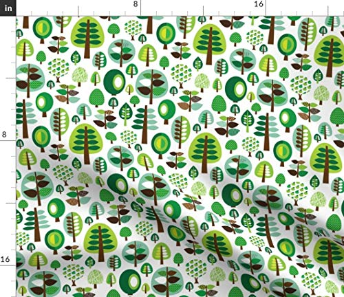 Spoonflower Fabric - Retro Green Nature Tree Leaf Forest Pattern Illustration Apples Printed on Denim Fabric by The Metre Bottomweight Apparel Home Decor Upholstery