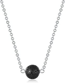 Lava Stone Bead Essential Oil Diffuser Necklace, Lava Ball Essential Pendant Aromatherapy Jewelry with 16.5 inches O Chain
