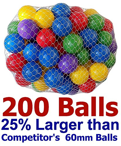 "Pack of 1000 Large Size 2.5"" Crush-Proof Ball Pit Balls - 5 Colors, Phthalate Free; BPA Free, Non-Toxic, Non-Recycled Plastic (Best Value Pack of 1,000)"