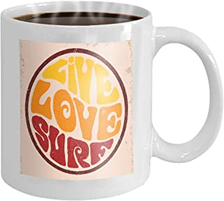 11 oz Coffee Mug Round badgelive Love surf Hand Drawn Retro Emblem Live Inscription Typography Design Poster Flyer Other Novelty Ceramic Gifts Tea Cup