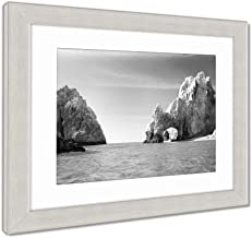 Ashley Framed Prints Sunny Lovers Beach in Cabo San Lucas Mexico, Wall Art Home Decoration, Black/White, 30x35 (Frame Size), Silver Frame, AG6533836