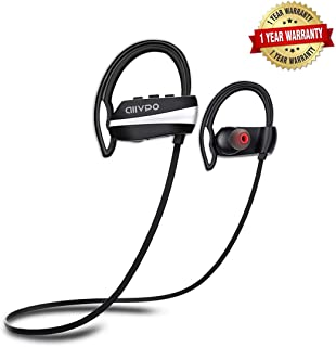 Bluetooth Headphones IPX7 Waterproof with Mic,12 Hrs Play Time Wireless Sports in-Ear Best Earphones HD Stereo Sweatproof Earbuds Headsets for Gym Running Workout Outdoor Noise Cancelling