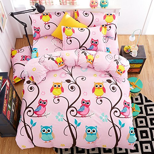 KFZ Happy Owl Duvet Cover Queen Set for Girls – Includes Duvet Cover (Without Comforter Insert), Flat Sheet and 2 Pillowcases, Owl Floral Print Bedding Set for Kids, Soft and Breathable Fabric Made
