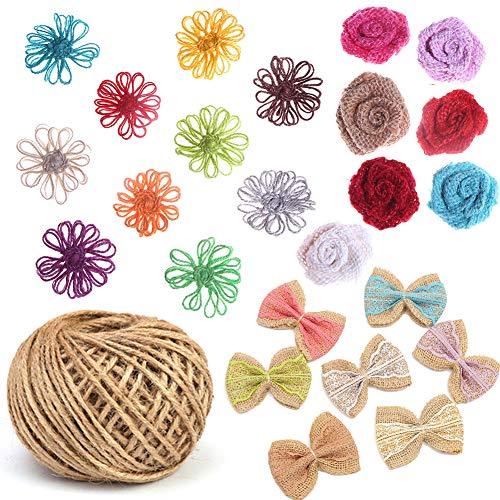 25 PCS Burlap Flowers Set, 1 Twine Ribbon 24 Handmade Burlap Flowers and Bowknots Natural Rose Flowers Lace Bowknot Sets for Wedding Party Decor Home Embellishment DIY Crafts