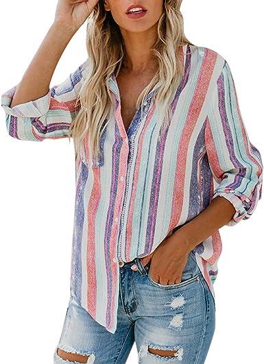 Minetom Mujer Lino Blusa Moda Rayas de Colores Camisa Otoño Elegante Manga Larga Botones Camiseta Tops Suelto T-Shirt