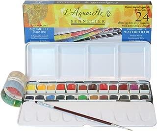 Sennelier L'Aquarelle French Watercolor Paint, Metal Set of 24 Half Pans