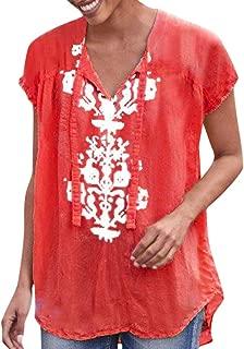 〓COOlCCI〓Women's V-Neck Short Sleeve Tie Knot Front Luce up Asymmetric Hem Shirt Top Boho Tops Blouse T-Shirts Tees