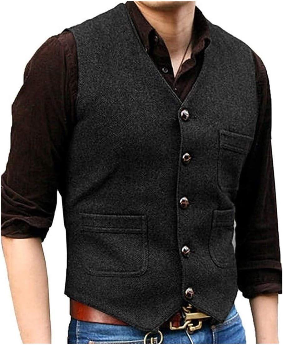 High order QWERBAM Men's Suit V Neck Tweed Direct store Wool Herringbone Busin Waistcoat