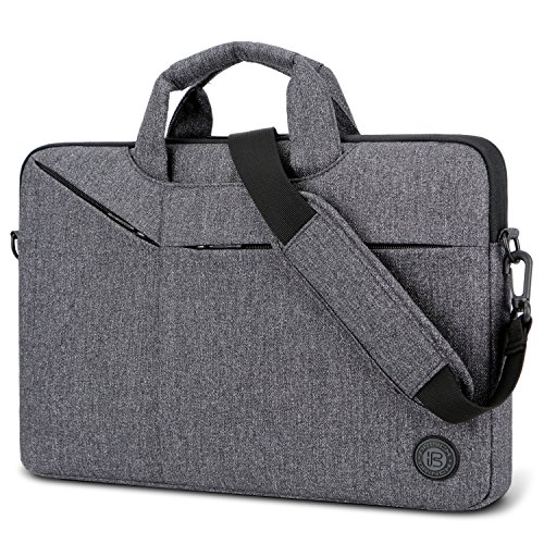 Laptop Bag,BRINCH Slim Water Resistant Laptop Messenger Bag Portable Laptop Sleeve Case Shoulder Bag Breifcase Handbag with Strap for Up to 15.6 Inch Laptop/NoteBook Computer Men/Women,Dark Grey
