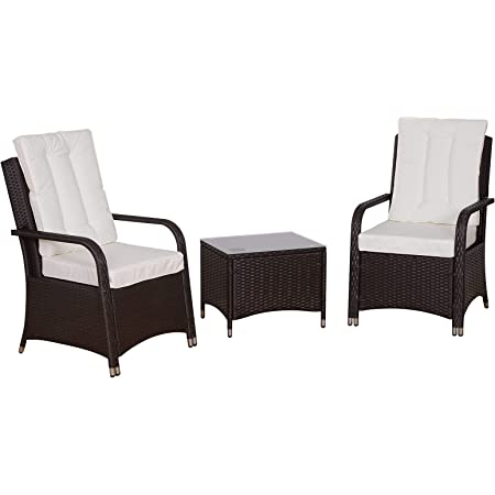 Outsunny Rattan Garden Furniture 3 PCs Sofa Chair Table Bistro Set Wicker Weave Outdoor Patio Conservatory Set w/Cover Steel Frame, White