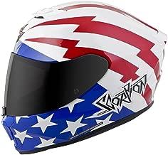 Scorpion EXO-R420 Full-Face Tracker Street Bike Motorcycle Helmet - White/Red/Blue/Medium
